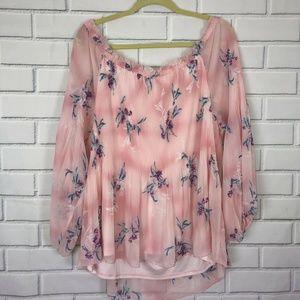 Lane Bryant Tops - Lane Bryant Pink Off Shoulder Blouse Shirt Floral